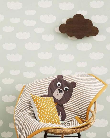 papier peint vert de gris nuage blanc scandinave chambre enfant blog deco