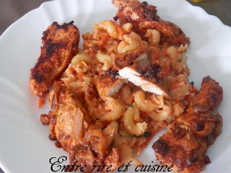 Aiguillettes de poulet marinées (marinade au jus de pomelo) à la plancha