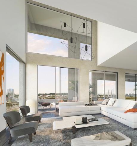 atelier loft béton blanc cosy industriel accumulation suspension lampe géometrique minimaliste duplex
