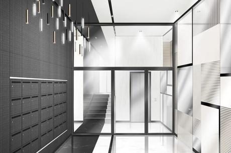 hall entrée immeuble design noir blanc avis sur cogedim immeuble neuf