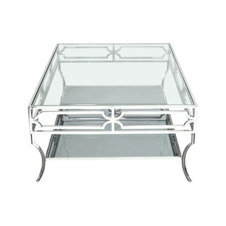 steel frame coffee table cocktail table with clear glass top mirrored shelf stainless steel frame coffee