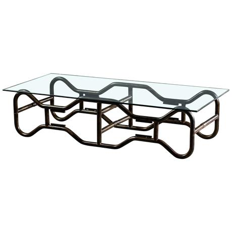 steel frame coffee table modern french industrial steel frame glass top coffee table circa for sale