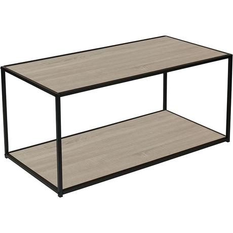 steel frame coffee table midtown collection oak wood grain finish coffee table with black metal frame