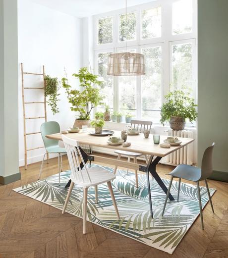 salle à manger urban jungle tapis palmier - blog deco clem around the corner