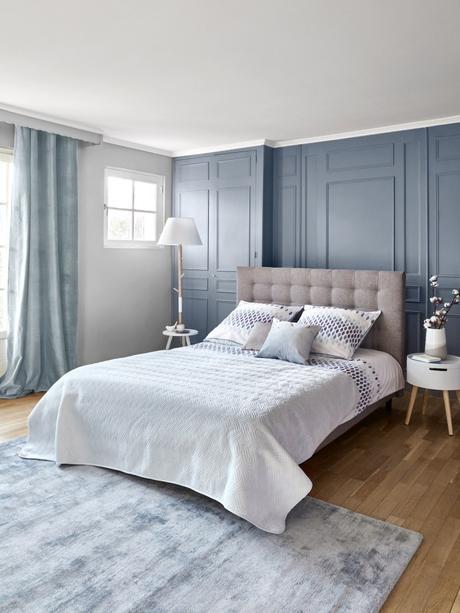 deco chambre parentale élégante chic zen bleu bord de mer nouvelle collection but