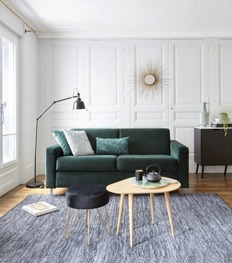 style décoration gasby chic velours canapé vert foncé nouvelle collection but