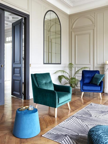 fauteuil pouf vert émeraude bleu canard nouvelle collection but appartement paris