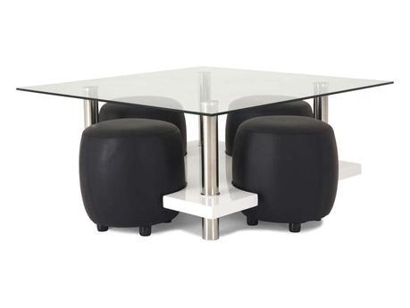 Table basse avec des poufs intégrés