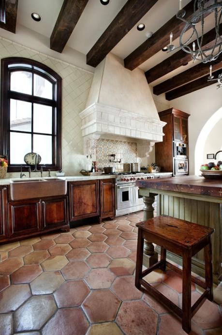 style toscan cuisine vintage poutres en bois décoration - blog déco - clem around the corner