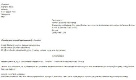 Lettre de résiliation d'assurance habitation : modèle de lettre ...
