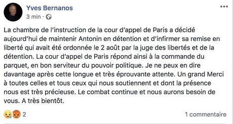l'acharnement judiciaire (et politique !) contre Antonin Bernanos doit cesser ! #FreeAnto