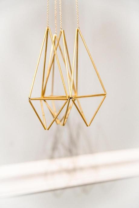 lot de trois suspension en laiton décorative doré diamant idée design