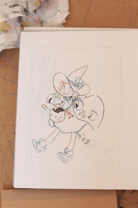 #713 - petite sorcière aquarelle