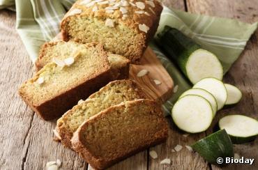 Recette bio : Gâteau bio sucré courgettes et amandes (sans beurre) par  Bioday