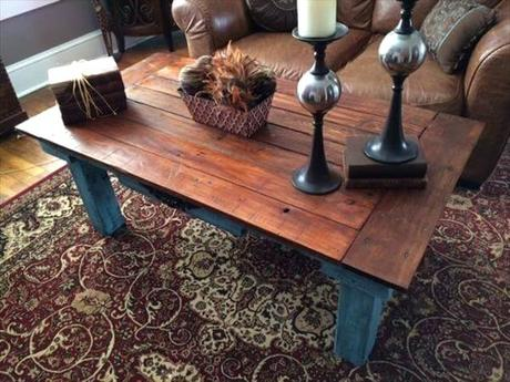 blue distressed coffee table recycled pallet teal blue coffee table