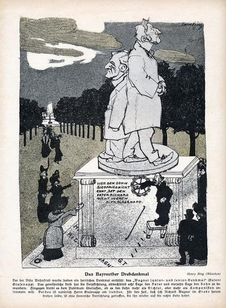 Wagner Junior und Senior Denkmal Bayreuth. Le monument à Wagner Junior et Senior à Bayreuth