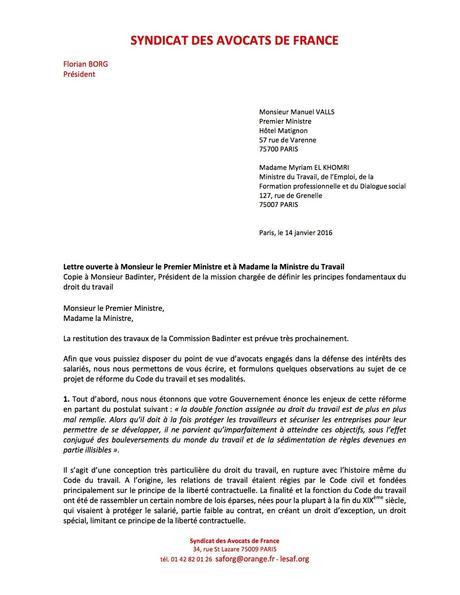 lettre ouverte du Syndicat des avocats de France au Premier ministre ...