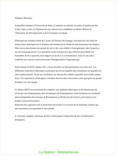 Haut Exemple Lettre De Motivation Master Prof, Écoles Lettre De ...