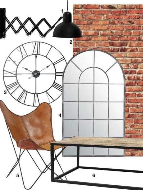 shopping liste tendance industrielle miroir horloge papier peint table basse fauteuil cuir - blog déco - clematc