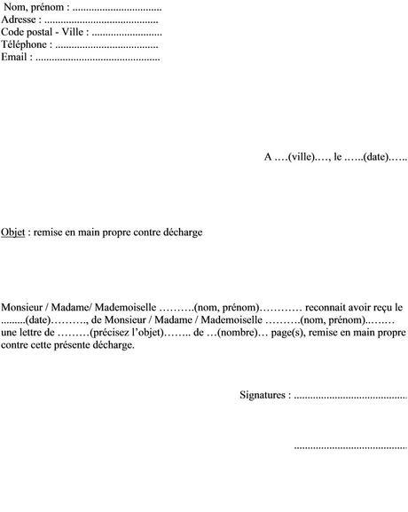 Modèle de lettre remise en main propre contre décharge | islam ...
