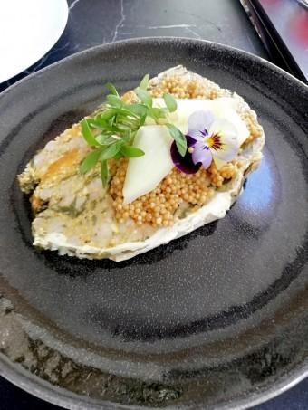 Terrine de cochon, pèche, épinards © Gourmets&co