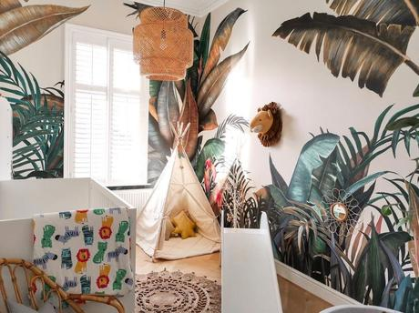 Du papier peint tropical pour une chambre d'enfant !