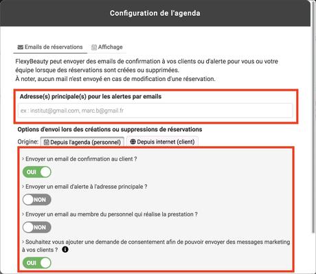 Configurer les envois d'email liés au rdv de l'agenda - Flexy Help ...