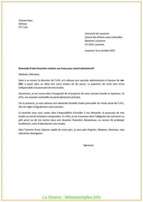 Idéal Lettre De Demande D'Aide Financière Gratuite Lettre Demande D ...