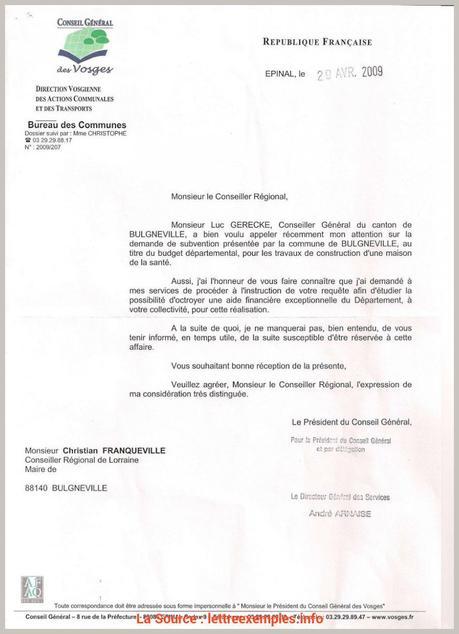 Original Lettre Demande Aide Financiere Conseil Regional Lettre De ...