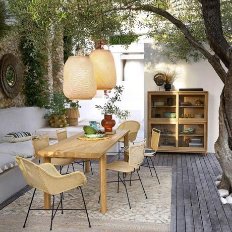 outdoor lampe fibre naturelle suspendue table bois province emmanuel gallina