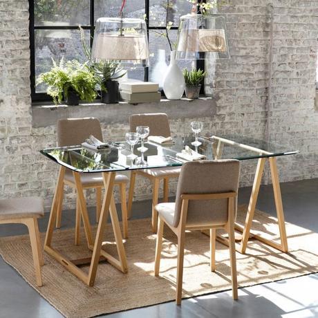 salle à manger mur brique chaise lin maison de province blog déco