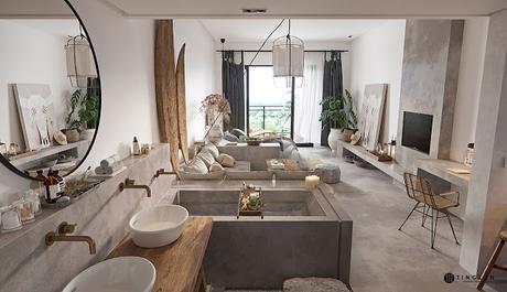 Chine / Loft de 58 m2 mêlant béton et déco ethnique /