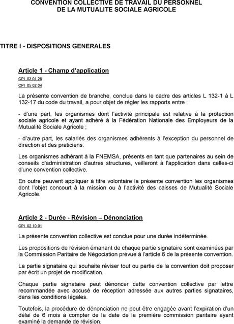 CONVENTION COLLECTIVE DE TRAVAIL DU PERSONNEL DE LA MUTUALITE ...