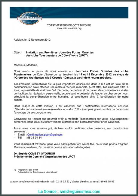 Briliant Exemple De Lettre Pour, Journée Porte Ouverte Invitation ...