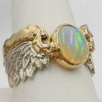 création alliance opale sur-mesure en or et argent