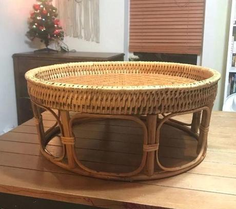 bent wood coffee table vintage rattan wicker side table small coffee stand bent wood