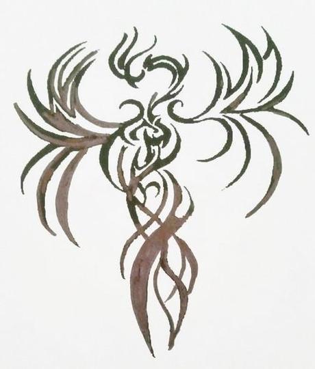 dessin d'un phoenix servant de modèle pour la confection d'un pendentif en argent