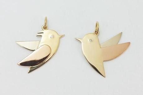 pendentifs oiseaux en or 18k