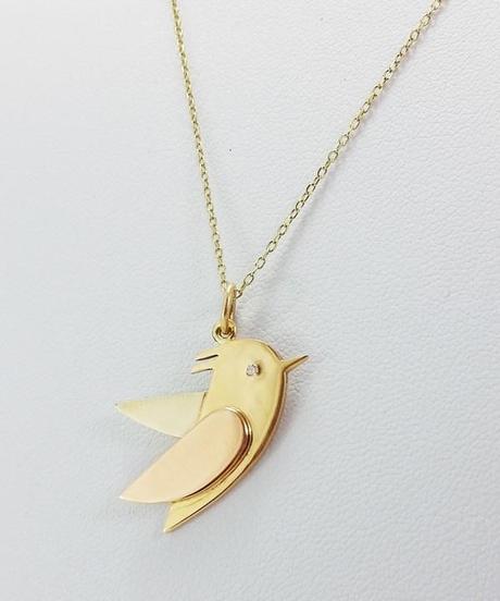 pendentif oiseau en or avec collier or 18k