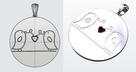design pendentif oiseaux en argent