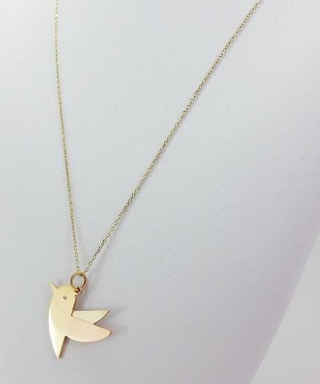 collier pendentif oiseau or 18 carats