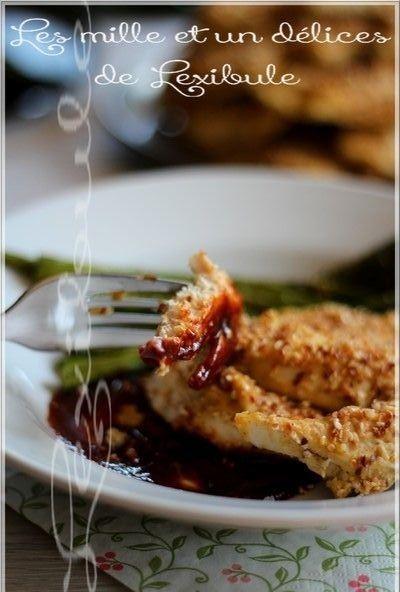 ~Filets de poulet au houmous et au sésame & asperges au citron et au parmesan~