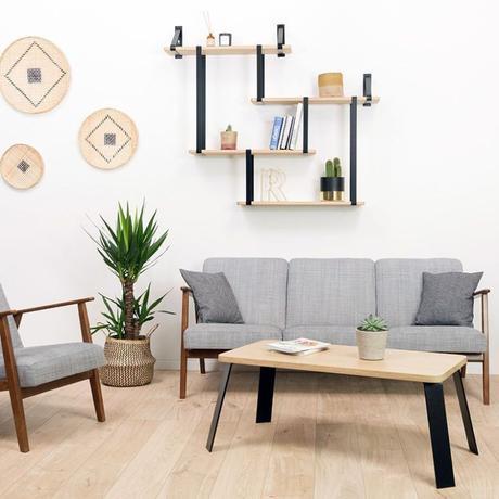 étagère Ripaton murale design salon déco retro vintage canapé scandinave 50s bois tissu gris