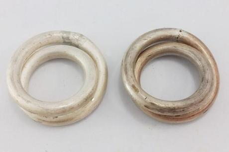 deux anneaux doubles en argent