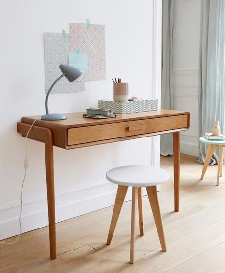 bureau faible profondeur style scandinave minimaliste pastel - blog déco - clem around the corner