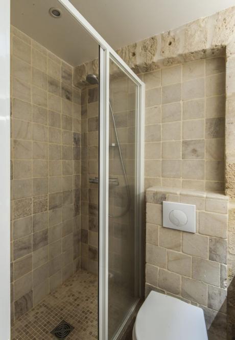 salle de bain pierre apparente douche italienne sanitaire toilette mosaïque déco décoration intérieure