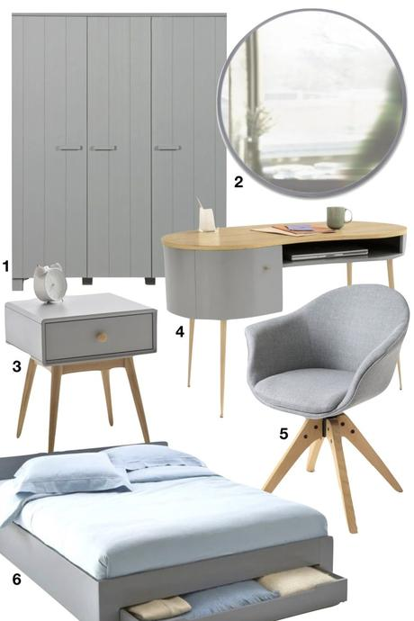 chambre grise armoire couleur béton bureau scandinave fauteuil lit miroir - blog déco - clemaroundthecorner