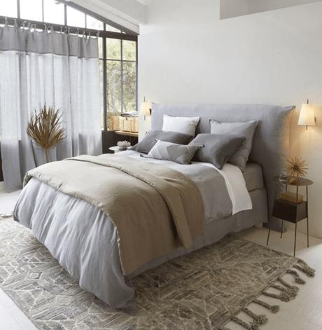 chambre draps gris tapis plaid feuille séchée voilage gris verrière - blog déco - clemaroundthecorner