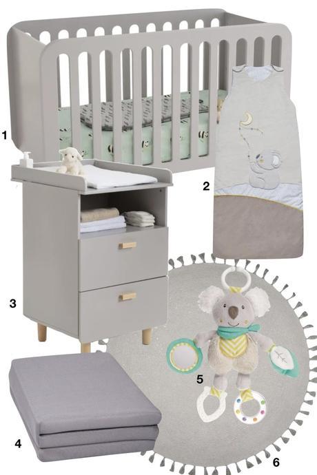 shopping liste mobilier bébé koala lit à barreaux matelas éveil tapis meuble changement - blog déco - clematc