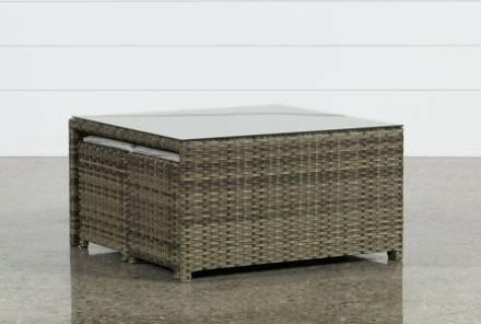 wicker outdoor coffee table outdoor coffee table w two ottomans